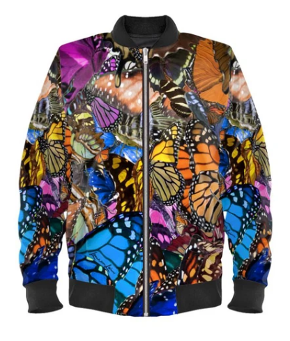 Satin Bomber Jacket in Original Butterfly Digital Print  for Women by Lauren Lein