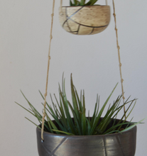 Load image into Gallery viewer, Double hanging ceramic planters in natural colored glazes, a creamy salt and a blackened gold