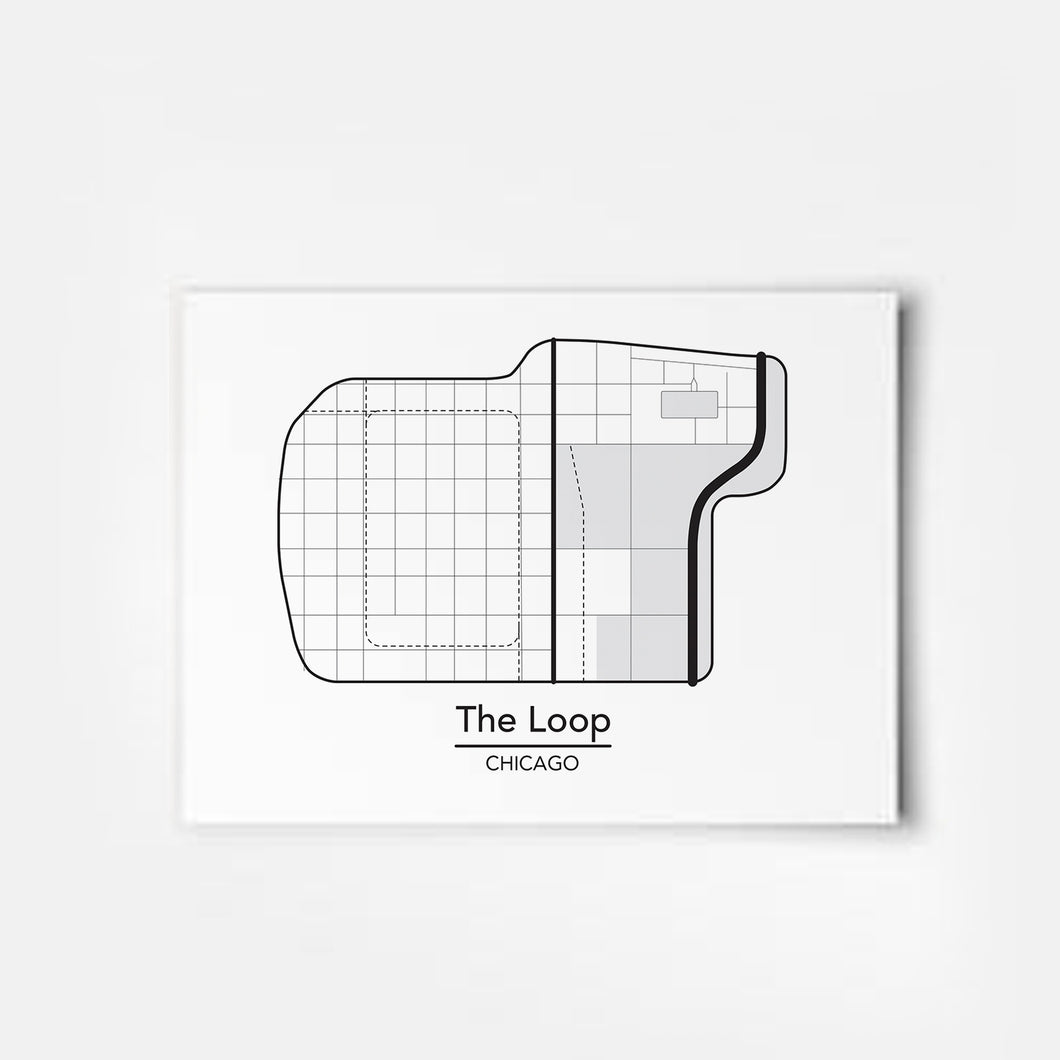 Chicago Loop Street Grid Map Art Print by ThisCityMaps
