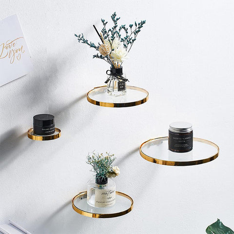 Gold Rim Glass Wall Display