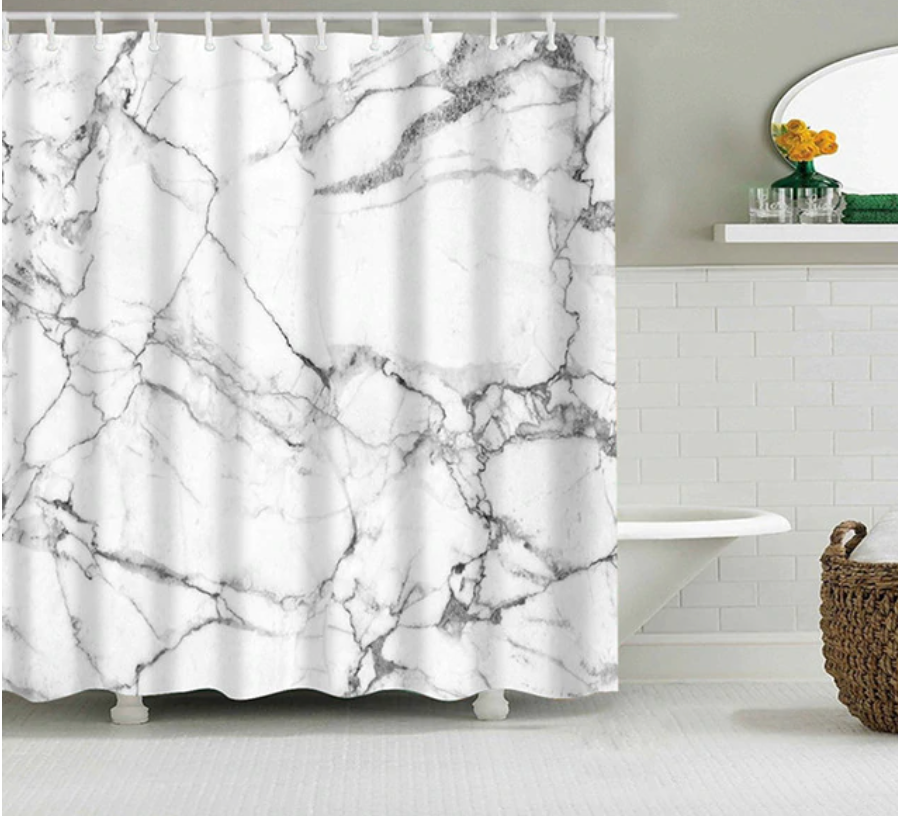 Waterproof Marble Bath Curtain
