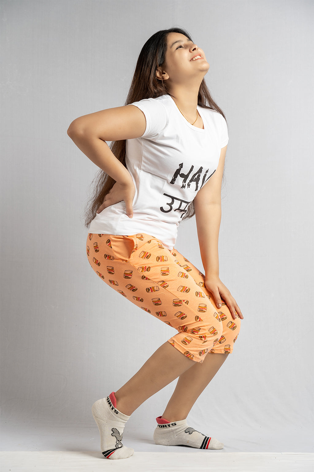 Peach Nutella Printed Capri