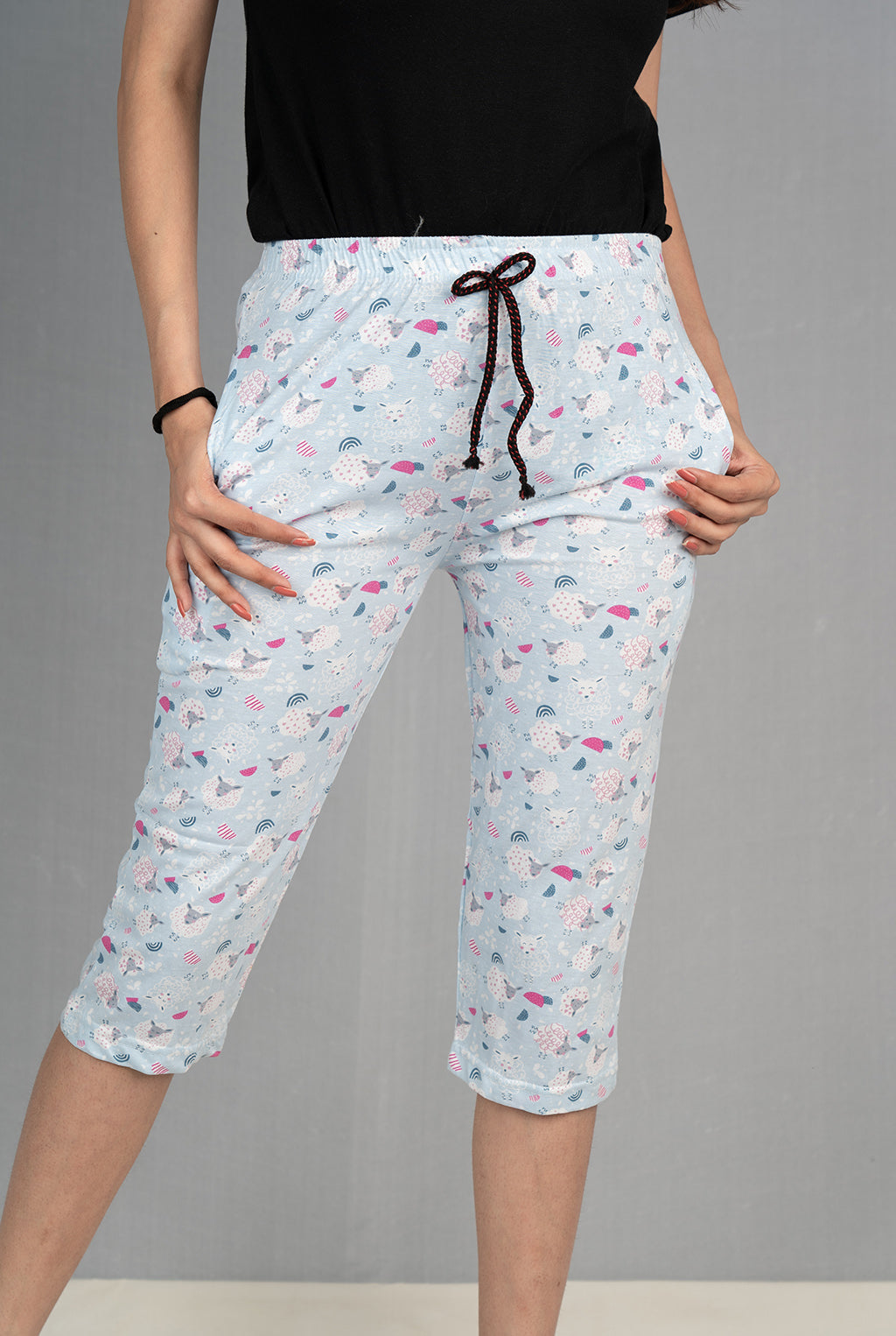 Cute Sheep Printed Capri