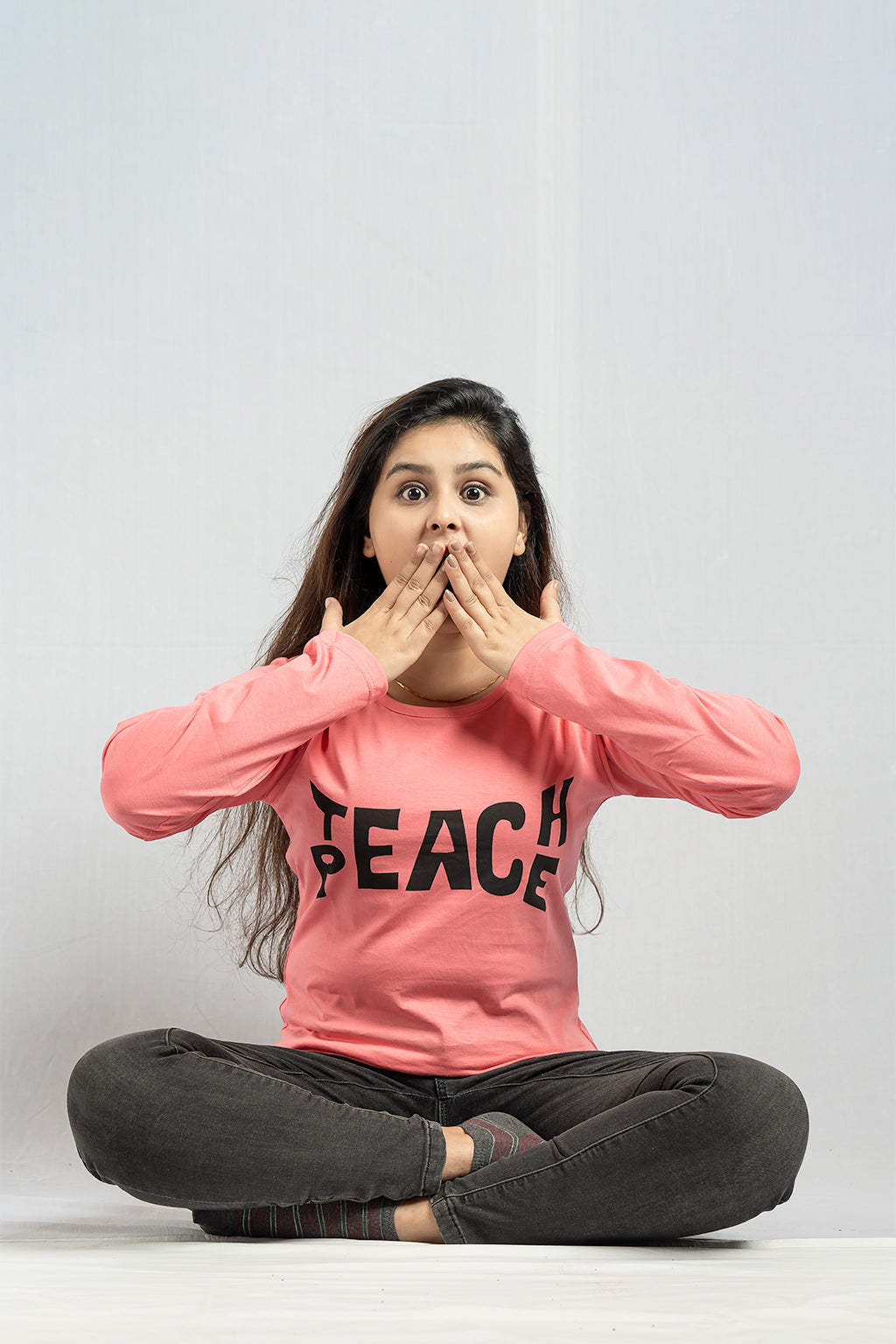Full Sleeve Pink Teach Peace Tee