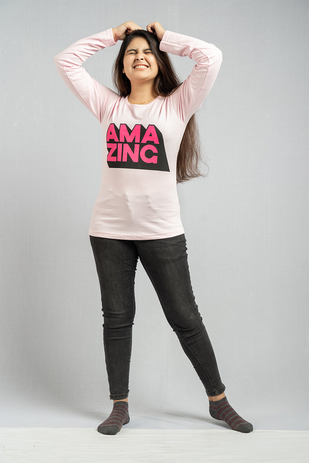Full Sleeve Peach Ama Zing Tee