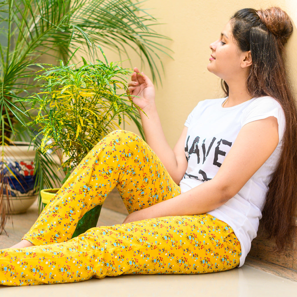 Yellow Printed Pyjamas