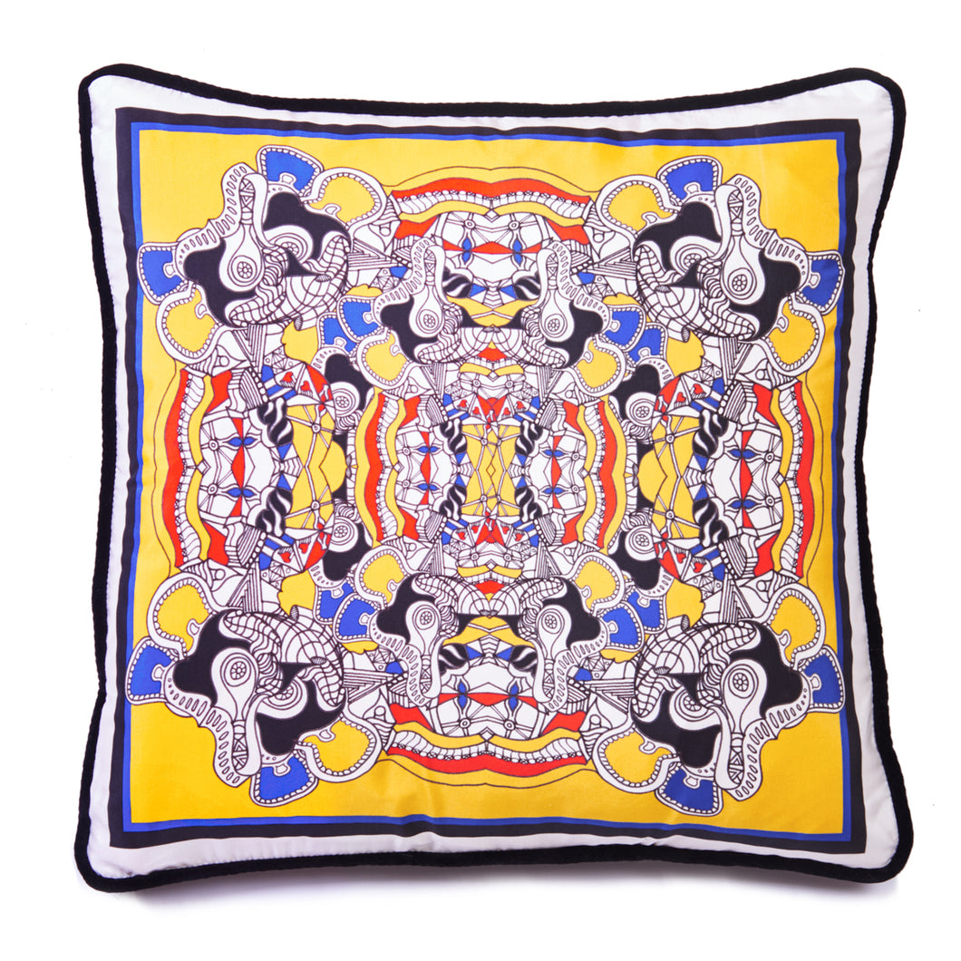 Taking the Mickey Yellow - Square Cushion Cover