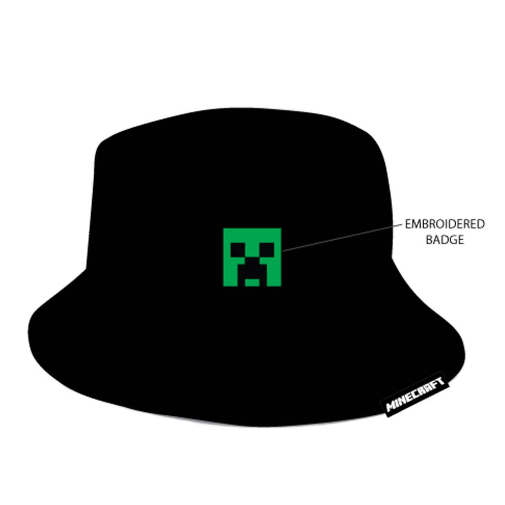 Minecraft - Black Bucket Hat *Kids Size*-Cap Snapback-TheRockFanShop