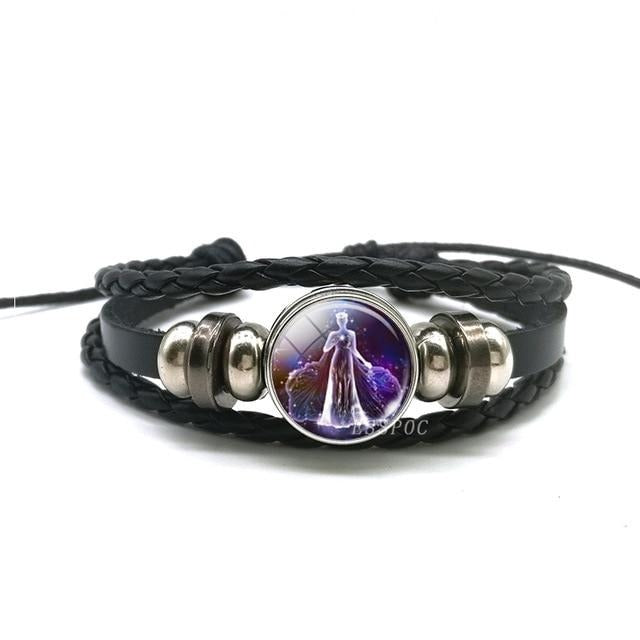 Zodiac Sign Woven Leather Bracelet