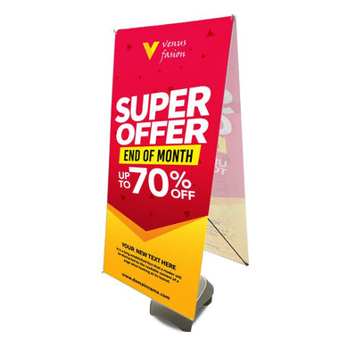 Outdoor X-Banner Stand, Water Fill Base with Graphic