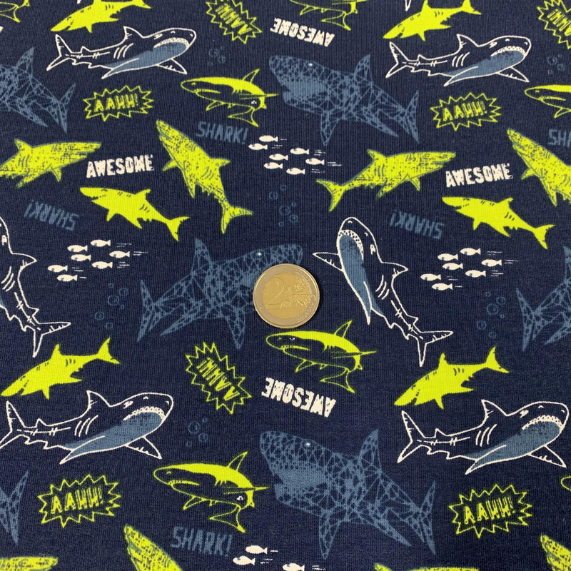 tissu french terry bleu requins