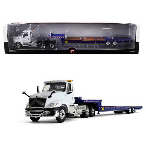 "International LT Day Cab with ""Ledwell"" Hydratail Trailer White and Blue 1/34 Diecast Model by Firs F977-10-4156"