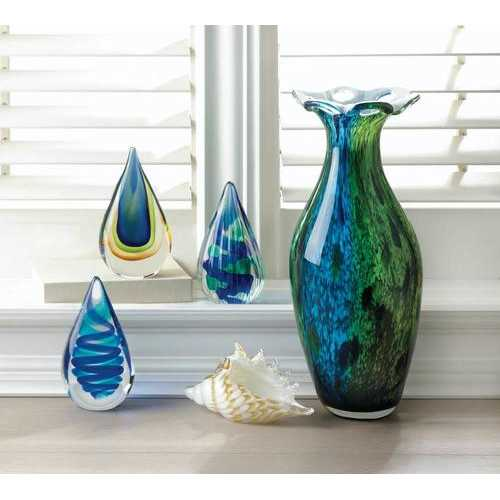Peacock Bloom Art Glass Vase V121-10018219