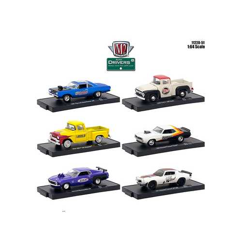 Drivers 6 Cars Set Release 51 in Blister Packs 1/64 Diecast Model Cars by M2 Machines F977-11228-51