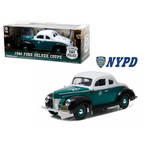1940 Ford Deluxe Coupe New York City Police Department (NYPD) 1/18 Diecast Model Car by Greenlight F977-12972