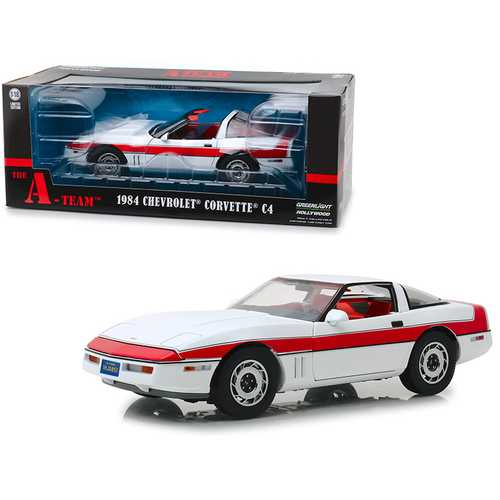 "1984 Chevrolet Corvette C4 Convertible White with Red Stripe ""The A-Team"" (1983-1987) TV Series 1/1 F977-13532"