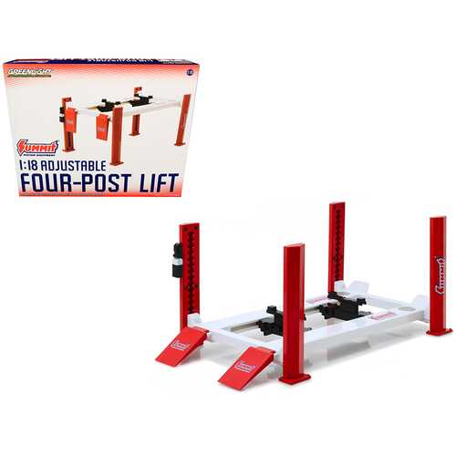 "Adjustable Four Post Lift Red and White ""Summit Racing Equipment"" for 1/18 Scale Diecast Model Cars F977-13549"
