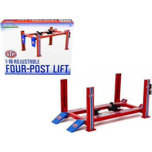 "Adjustable Four Post Lift ""STP"" Blue and Red for 1/18 Scale Diecast Model Cars by Greenlight F977-13555"