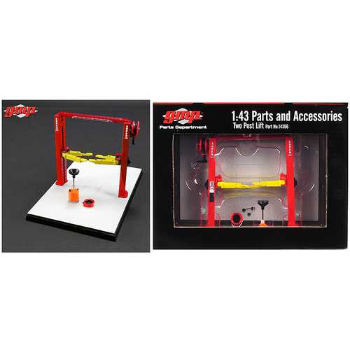 Two Post Lift Red and Yellow for 1/43 Scale Diecast Model Cars by GMP F977-14306