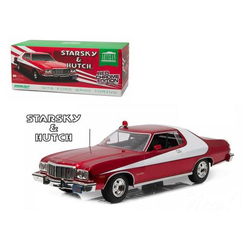 "1976 Ford Gran Torino ""Starsky and Hutch"" Red Chrome Edition (TV Series 1975-79) 1/18 Diecast Model F977-19023"