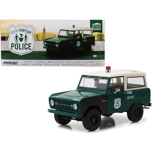 1967 Ford Bronco Police Pursuit New York City Police Department (NYPD) Green with Cream Top 1/18 Di F977-19036