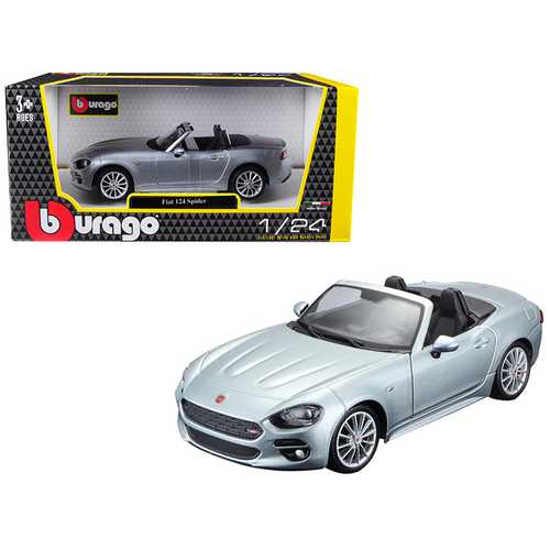 Fiat 124 Spider Coupe Grey 1/24 Diecast Model Car by Bburago F977-21083gry
