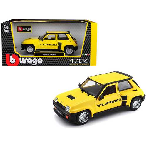 Renault 5 Turbo Yellow with Black Accents 1/24 Diecast Model Car by Bburago F977-21088y