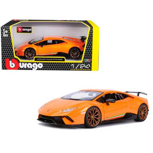 Lamborghini Huracan Performante Metallic Orange 1/24 Diecast Model Car by Bburago F977-21092or