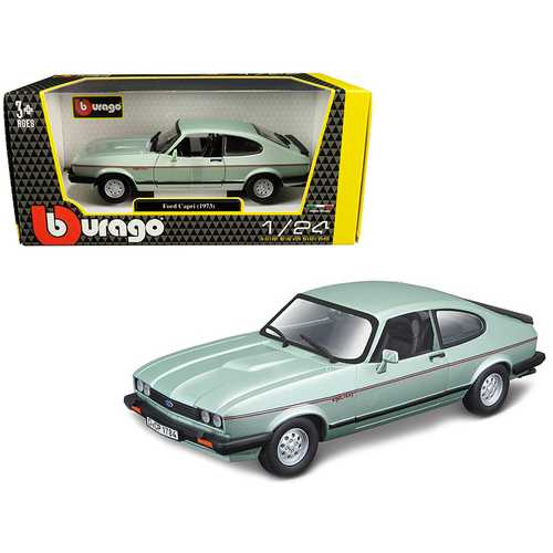 1973 Ford Capri Light Green Metallic 1/24 Diecast Model Car by Bburago F977-21093grn
