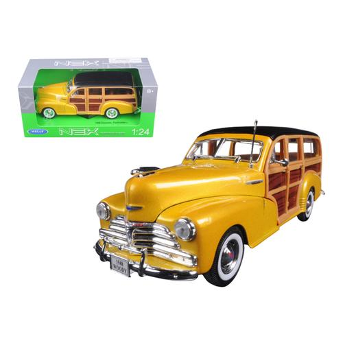 1948 Chevrolet Woody Wagon Fleetmaster Gold 1/24 Diecast Model Car by Welly F977-22083gld
