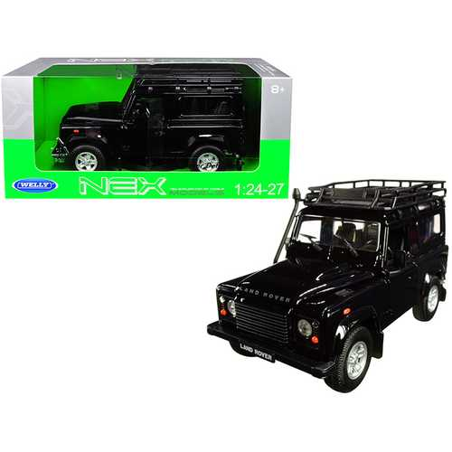 Land Rover Defender with Roof Rack Black 1/24-1/27 Diecast Model Car by Welly F977-22498SPW-BK