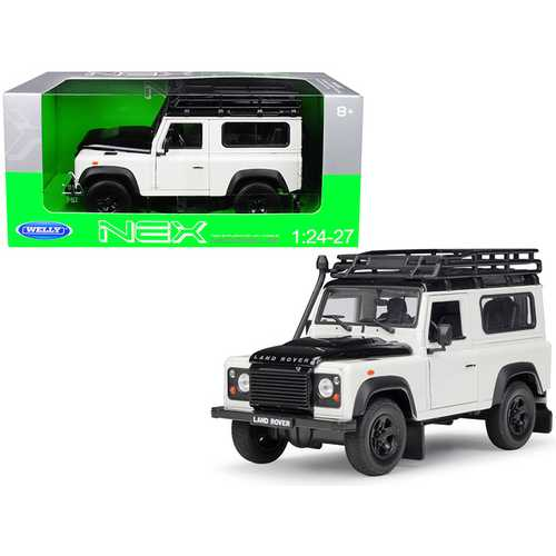 Land Rover Defender with Roof Rack White and Black 1/24-1/27 Diecast Model Car by Welly F977-22498SPW-W