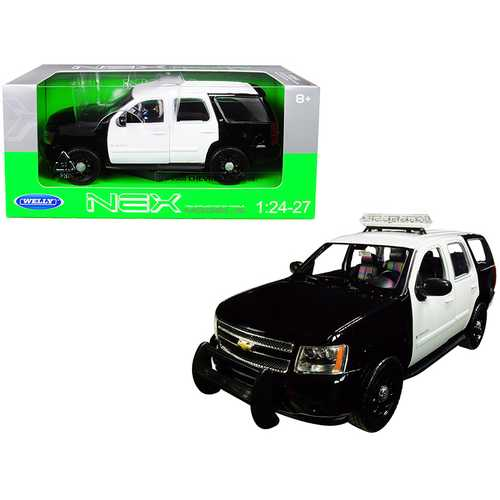 2008 Chevrolet Tahoe Unmarked Police Car Black and White 1/24-1/27 Diecast Model Car by Welly F977-22509BKWHP-W