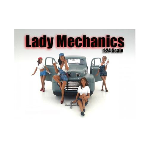 Lady Mechanics 4 piece Figurine Set for 1/24 Scale Models by American Diorama F977-23959-23960-23961-23962