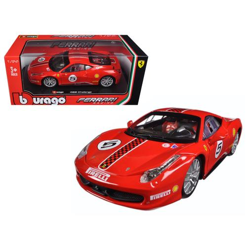 Ferrari 458 Challenge #5 Red 1/24 Diecast Model Car by Bburago F977-26302
