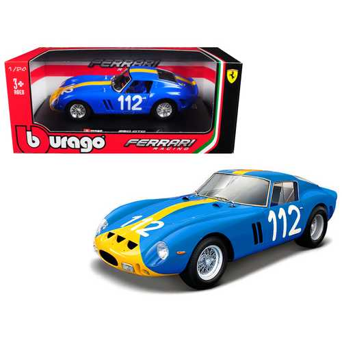 Ferrari 250 GTO Blue #112 1/24 Diecast Model Car by Bburago F977-26305BL