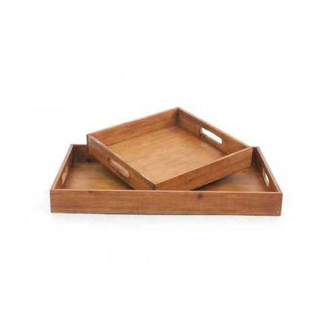 Brown 2pc Country Cottage Wooden Serving Tray Set N270-274449