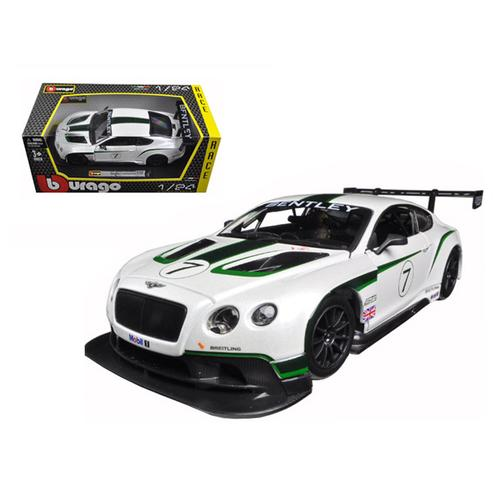 Bentley Continental GT3 White #7 1/24 Diecast Model Car by Bburago F977-28008w