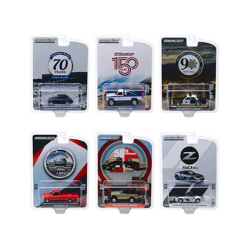 """Anniversary Collection"" Series 10, 6 piece Set 1/64 Diecast Model Cars by Greenlight F977-28020SET"