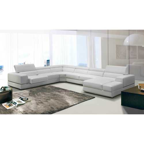"36"" White Bonded Leather, Foam, and Steel Sectional Sofa N270-282873"