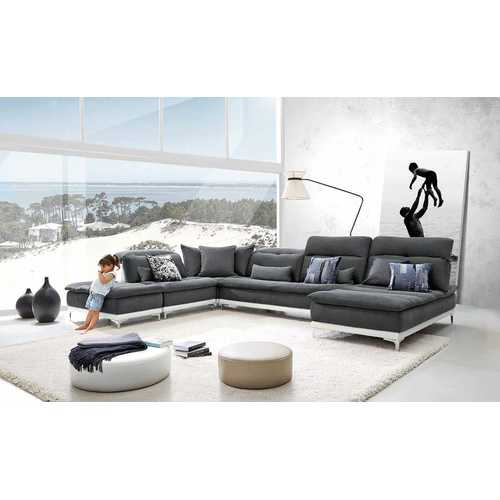 "39"" Grey Fabric, Foam, Wood, and Stainless Steel Sectional Sofa N270-283228"