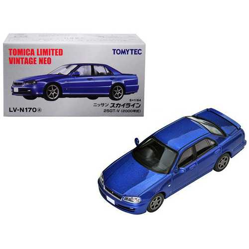 2000 Nissan Skyline 25GT-V RHD (Right Hand Drive) Metallic Blue 1/64 Diecast Model Car by TomyTec F977-288633