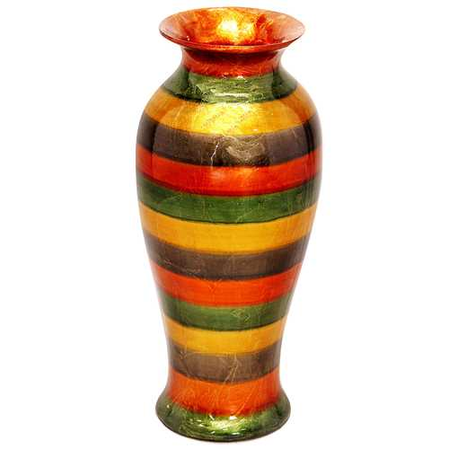 "21"" Foiled & Lacquered Ceramic Vase - Ceramic, Lacquered In Copper, Green, Gold And Brown N270-294531"