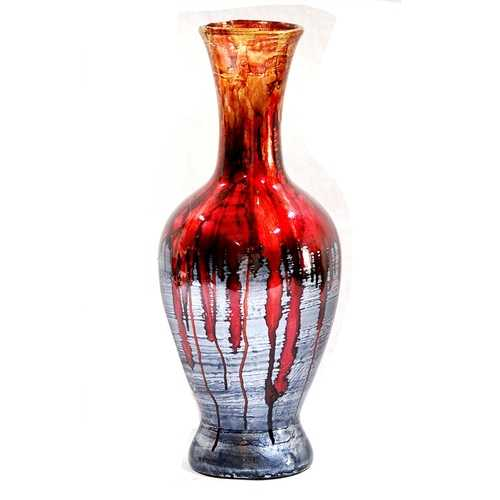 "18"" Foiled & Lacquered Ceramic Vase - Ceramic, Lacquered In Red And Gray N270-294545"