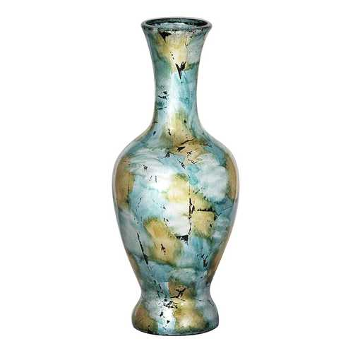 "18"" Foiled & Lacquered Ceramic Vase - Ceramic, Lacquered In Mint And Gold W/ Black Show-Through N270-294547"