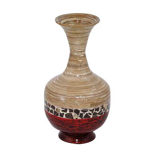 "22"" Spun Bamboo Vase - Bamboo In Natural Bamboo And Metallic Red W/ Coconut Shell N270-294875"