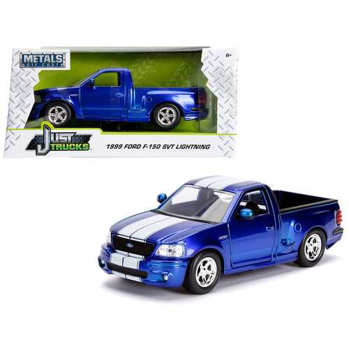 "1999 Ford F-150 SVT Lightning Pickup Truck Candy Blue  with White Stripes ""Just Trucks"" Series 1/24 F977-30358"