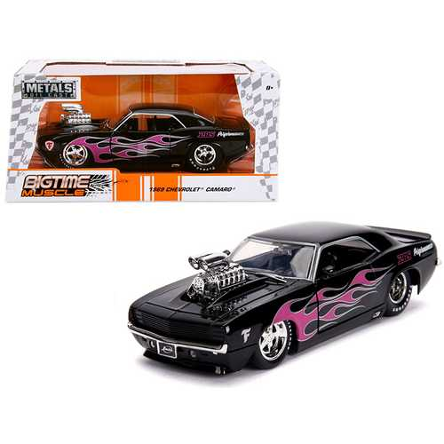 "1969 Chevrolet Camaro with Blower Black and Pink Flames ""Bigtime Muscle"" Series 1/24 Diecast Model  F977-30707"