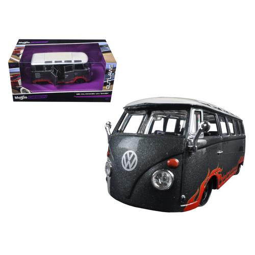 "Volkswagen Van Samba Grey ""Outlaws"" 1/25 Diecast Model Car by Maisto F977-31022gry"