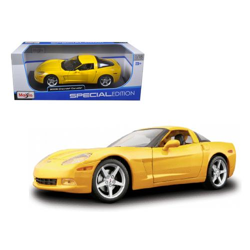 2005 Chevrolet Corvette C6 Coupe Yellow 1/18 Diecast Model Car by Maisto F977-31117y